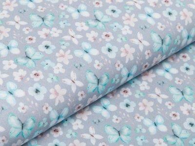 Webware Baumwolle Popeline Digitaldruck - Aquarelle Schmetterlinge - grau