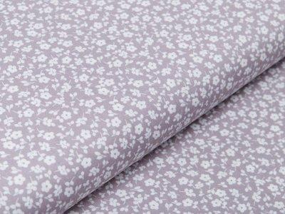 Webware Baumwolle Popeline - süße Blümchen - grau
