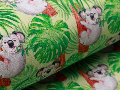 Angerauter Sweat Digitaldruck - Koalabären - lime
