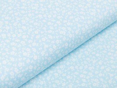 Webware Baumwolle Popeline - süße Blümchen - pastellblau