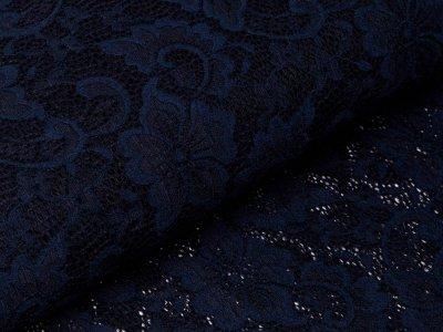 Elastische Spitze - Blumen - nachtblau