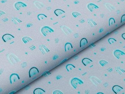 Webware Baumwolle Popeline Digitaldruck - Regenbögen - grau