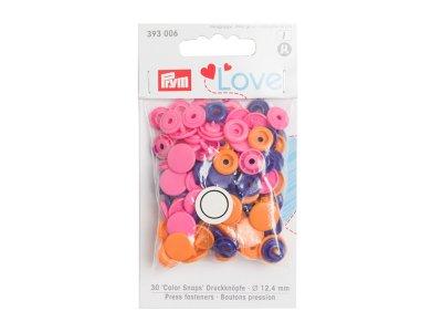 Color Snaps Druckknöpfe Prym Love 30 Stück/12,4mm gemischt - pink,orange,violett