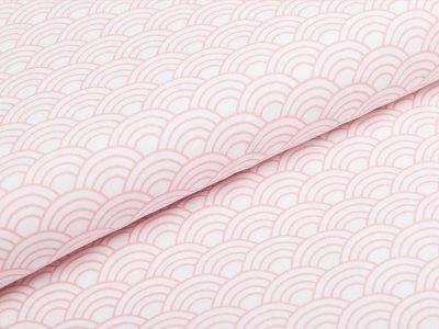 Webware Popeline - Bogenwellen - weiß/rosa