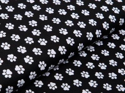 Webware Baumwolle Popeline - Pfoten-Abdrücke - schwarz