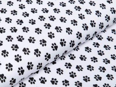 Webware Baumwolle Popeline - Pfoten-Abdrücke - wollweiß