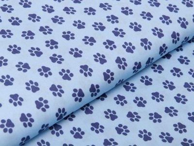 Webware Baumwolle Popeline - Pfoten-Abdrücke - blau