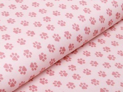Webware Baumwolle Popeline - Pfoten-Abdrücke - rosa
