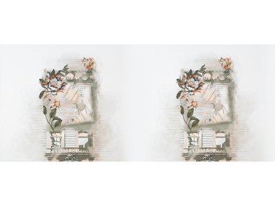KDS Queen's Collection Olivia - Jersey Viskose PANEL ca. 65cm x 160cm - Blumen & Streifen - weiß