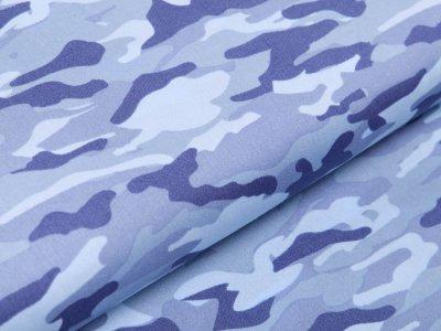 Webware Baumwolle Popeline - Camouflage - blau