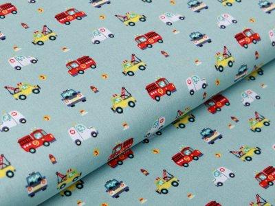 Webware Baumwolle Popeline - verschiedene Einsatzfahrzeuge - altmint