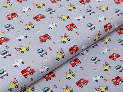 Webware Baumwolle Popeline - verschiedene Einsatzfahrzeuge - grau