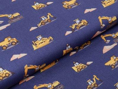 Webware Baumwolle Popeline - verschiedene Baufahrzeuge - denim jeans