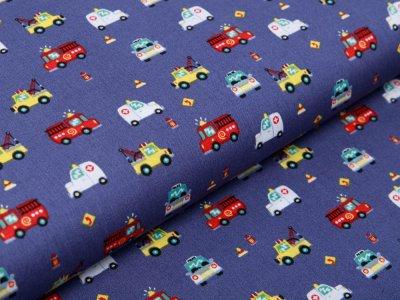 Webware Baumwolle Popeline - verschiedene Einsatzfahrzeuge - denim jeans