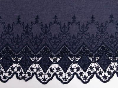 Leichter Bordüren-Jeansstoff mit Stickerei - Ornamente - jeansblau