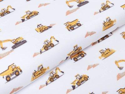 Webware Baumwolle Popeline - verschiedene Baufahrzeuge - wollweiß