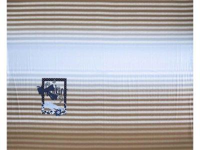 KDS Queen's Collection Afina - Jersey Viskose Panel ca. 125cm x 150cm - verzierter Rahmen auf Streifen - braun/hellblau