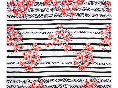 KDS Queen's Collection Leonie - Webware Viskose PANEL ca. 130 cm x 140 cm - Animalprint mit Hibiskusblüten - schwarz/weiß