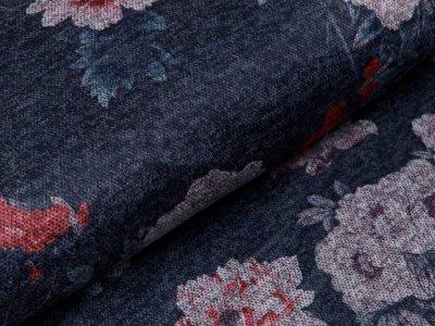 Strickstoff Viskose - Blumen - meliert blau