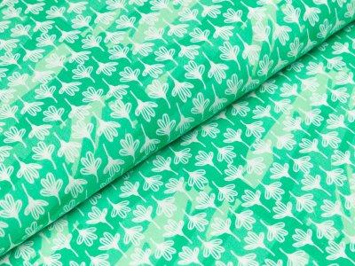 Viskose Webware Hilco Dragonfly - Blüten auf Camouflage - grün