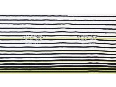 KDS Queen's Collection Kivi - Webware Viskose PANEL ca. 145cm x 75cm - Fashion mit Streifen - weiß/schwarz/grün