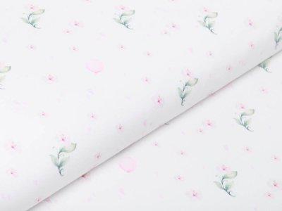 Webware Baumwolle Popeline Digitaldruck - Aquarelle Blüten - wollweiß