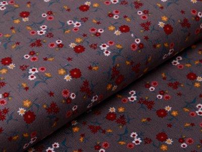Feincord - kleine Blumen - grau