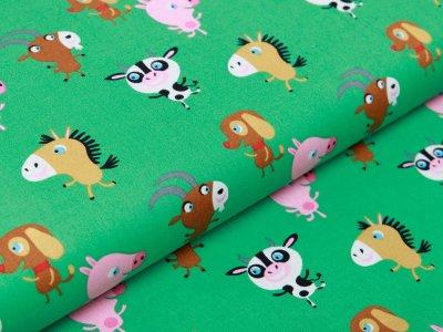 Webware Baumwolle Popeline - lustige Bauernhof-Tiere - grün