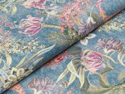 Popeline Hilco Milan - Blumen auf Jeansoptik - jeansblau