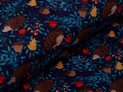 Angerauter Sweat - Igel und Waldfrüchte - nachtblau