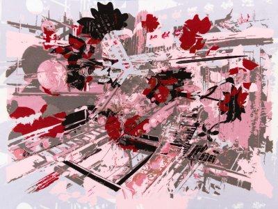 KDS Queen's Collection Candy - Webware Viskose Applikation/MINI-PANEL ca. 32cm x 23cm - abstraktes Kunstwerk - rosa