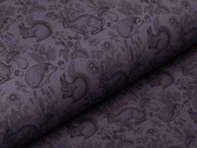 Sweat French Terry Digitaldruck - verschiedene Waldtiere - grau