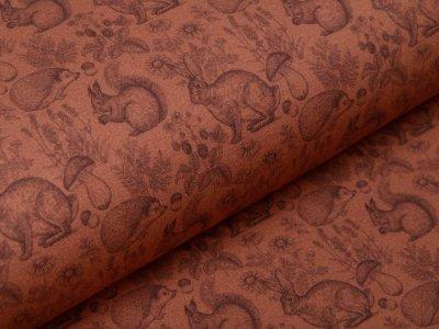 Sweat French Terry Digitaldruck - verschiedene Waldtiere - terrakotta