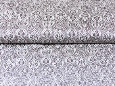 KDS Queen's Collection Candy - leichtfallender Interlock - verschnörkelte Ornamente - wollweiß/braun