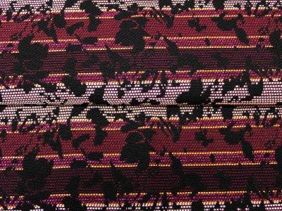 KDS Queen's Collection Candy - Webware mit eingewebten Fäden - Blumenmuster auf Streifen - bordeaux/schwarz