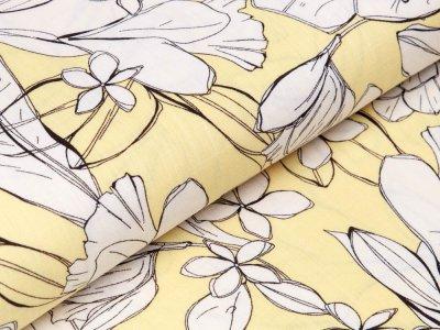 Webware Viskose - Blüten und Blätter - zartes gelb