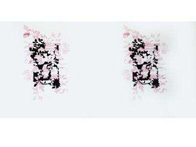 KDS Queen's Collection Candy - Jersey Viskose PANEL ca. 150cm x 75cm - Blumen und Schriftzüge - wollweiß/rosa