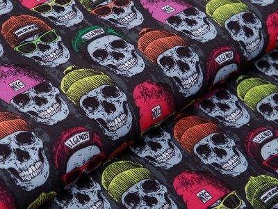 Softshell Jackenstoff - Neon-Skulls - anthrazit