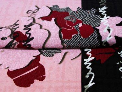 KDS Queen's Collection Candy - Jersey Viskose PANEL ca. 120cm x 155cm - abstrakte Formen und Schriftzüge - altpink/braun