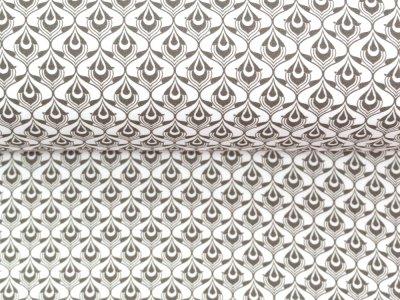 KDS Queen's Collection Olivia - Jersey Viskose - Art-Nouveau-Muster - weiß
