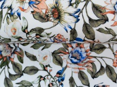 KDS Queen's Collection Olivia - Webware Viskose - Dschungelpflanzen - weiß
