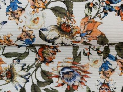 KDS Queen's Collection Olivia - italienischer Jersey mit haptischen Streifen - Dschungelpflanzen - weiß
