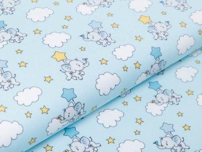Webware Baumwolle Popeline - fliegende Elefanten - blau
