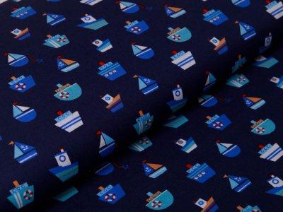 Webware Baumwolle Popeline - Boote und Schiffe - nachtblau