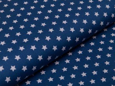 Webware Baumwolle Popeline - Sterne - jeansblau