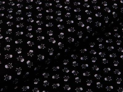Webware Baumwolle Popeline - kleine Totenköpfe - schwarz