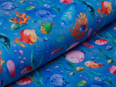 Sweat French Terry - Unterwasserwelt - blau