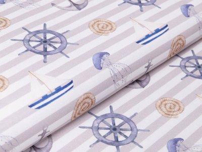 Canvas Digitaldruck by Poppy - Maritimer Look auf Streifen - weiß/beige