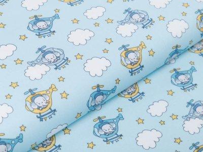 Webware Baumwolle Popeline - Elefanten im Helikopter - blau