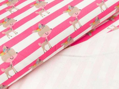 Baumwoll-Sweat Traumbeere Digitaldruck - Rehe auf breiten Streifen - weiß/pink